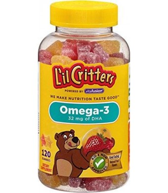 Lil Critters L'il Critters Omega-3 Gummy Fish with DHA, 120-Count Bottles (Pack of 3)