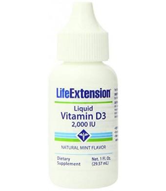 Life Extension Liquid Vitamin D 2000 IU Mint Flavor 1 fl oz
