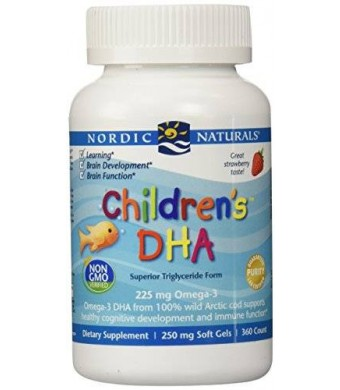 Nordic Naturals Children's DHA,Healthy Cognitive Development and Immune Function,225mg,360 Soft Gels