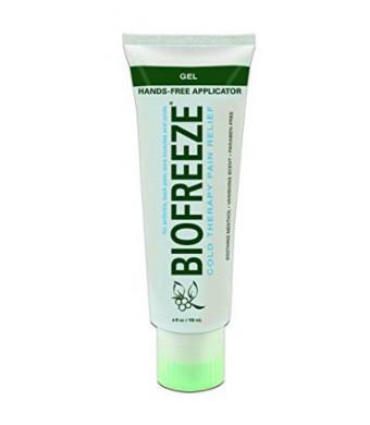 Bio Freeze Biofreeze Pain Reliever Gel, 4 Ounce Tube with Hands Free Applicator Tip, Original Green Formula