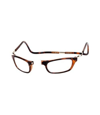 CliC Magnetic Closure Reading Glasses XXL with Adjustable Headband Tortoise 2.50