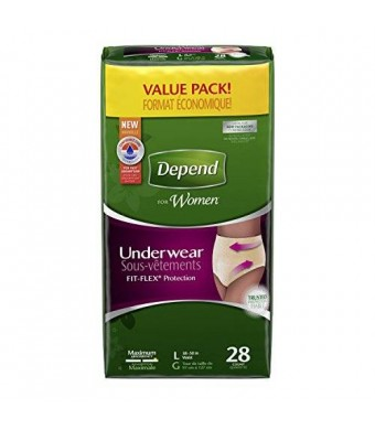 Depend for Women Incontinence Underwear, Maximum Absorbency, Large, 28 Count