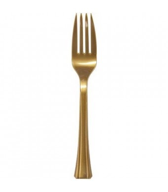 Lillian 48-Pack Plastic Forks Cutlery Bag, Gold