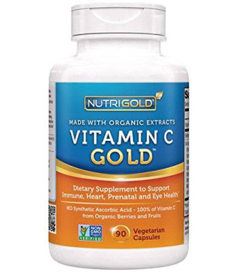 Nutrigold Vitamin C Gold (Made from Non-GMO, Organic Berries and Fruits - NOT Synthetic Ascorbic Acid), 240 mg, 90 veg. capsules