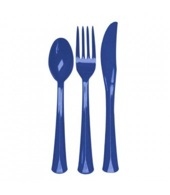 Party Essentials Extra Heavy Duty Hard Plastic Cutlery Combo Pack and Full Size Knives/Forks/Spoons, Royal Blue, 8 Place Setting-Count