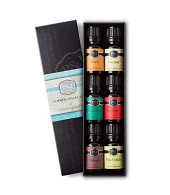 P&J Trading Summer Set of 6 Premium Grade  Fragrance Oils - Peach, Ocean Breeze, Plumeria, Coconut, Strawberry, Pina Colada