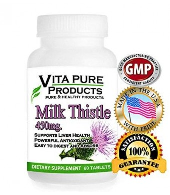 Vita Pure Milk Thistle Extract Pure - 450mg With 80% Silymarin for Liver Cleanse