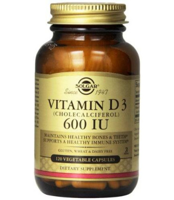 Solgar Vitamin D3 Cholecalciferol 600 IU Vegetable Capsules, 120 Count