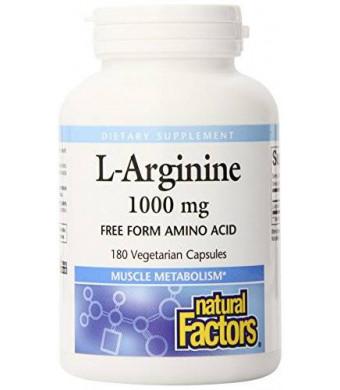 Natural Factors L-arginine Capsule, 1000mg,180 Count