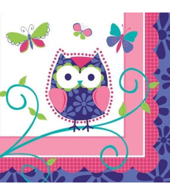 Creative Converting Owl Pal Beverage Napkins, 16 Count