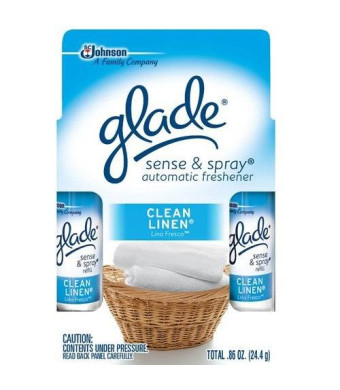 Johnson Glade Glade Sense and Spray Clean Linen Refill Twin, 0.86 oz