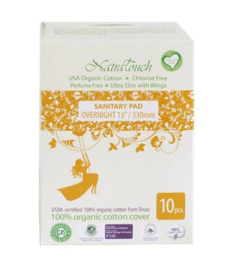 Natratouch Organic Cotton Sanitary Pads Ultra Slim with Wings 10 piece (Overnight)