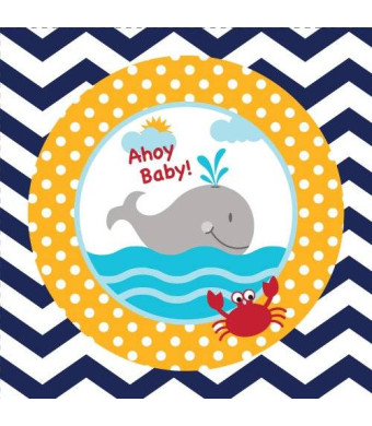 Creative Converting 18 Count Ahoy Matey Ahoy Baby Beverage Paper Napkins