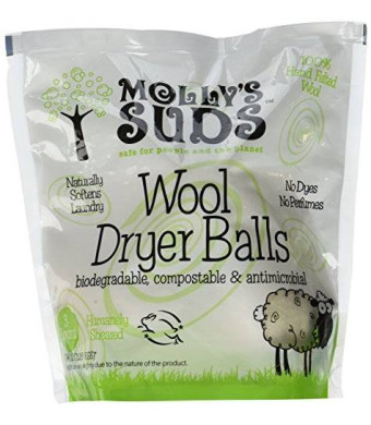 Molly's Suds 100% Wool Dryer Balls (set of 3) - Natural Alternative to Toxic Fabric Softeners