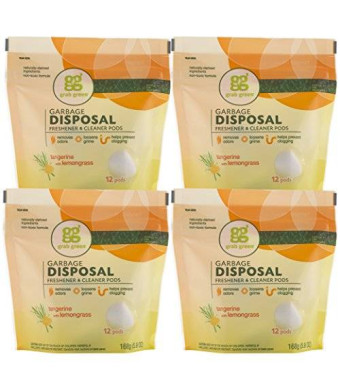 Grab Green Natural Garbage Disposal Freshener and Cleaner, Tangerine with Lemongrass, 12 Pods (Pack of 4)