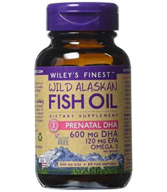 Wiley's Finest - Wild Alaskan Fish Oil: Prenatal DHA 600mg DHA - Omega 3 Supplement - 60 Softgels