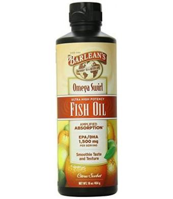 Barlean's Organic Oils Barlean's Ultra High Potency Fish Omega Swirl, Citrus Sorbet, 16 Ounce