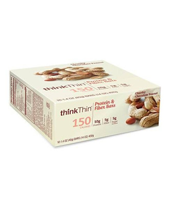 thinkThin Protein and Fiber Bars, Chunky Chocolate Peanut, 1.41 Ounce (Pack of 10)