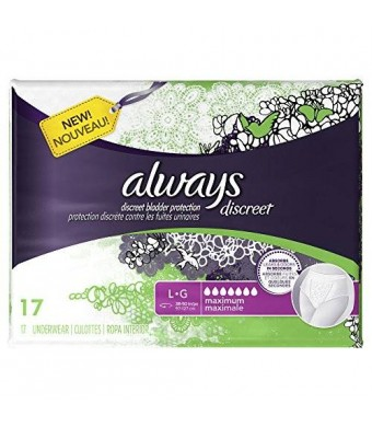 Always Discreet Discreet, Incontinence Underwear, Maximum Absorbency, Large, 17 Count