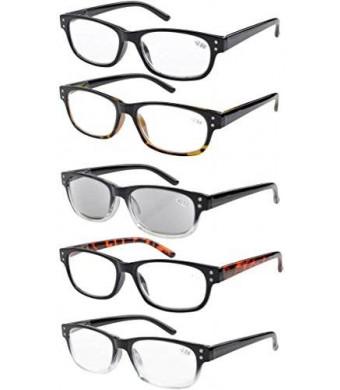Eyekepper 5-pack Spring Hinges Vintage Reading Glasses Includes Sunglasses Readers +1.50
