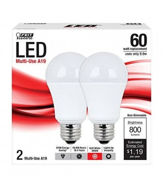 Feit A800/830/LED/2 A19 General Purpose 60-watt LED Light, Soft White, 2-Pack