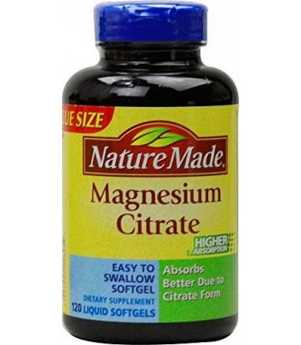 Nature Made Magnesium Citrate Softgels, 250mg, 120 Count - 2 Pack