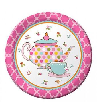 Creative Converting 8 Count Paper Dessert Plates, Tea Time