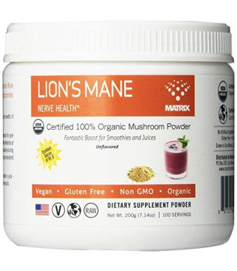 Mushroom Matrix Lions Mane Organic Powder, 7.14 Ounce