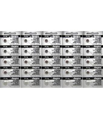 25 Energizer 377-376 1.5v 377/376 Watch/Calculator 0%Hg Mercury Free (5x5) Batteries