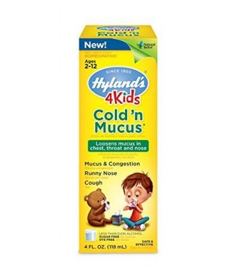 Hyland's Homeopathic Hyland's 4 Kids Cold and Mucus Congestion Relief Liquid, Natural Flavor and Natural Cold Relief, 4 Ounce