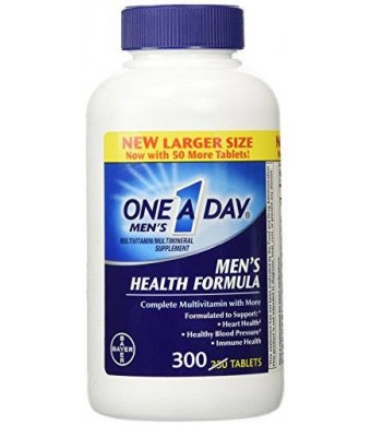 One A Day Men's Health Formula, 300 Tablets Complete Multivitamin with Lycopene Support Health Health, Immune, Heart, Healthy Blood Pressure