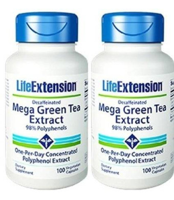Life Extension Mega Green Tea Extract Decaf. 100 VegiCaps (Pack of 2)