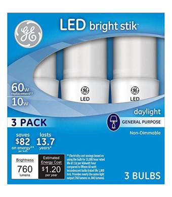 GE LED Bright Stik 60W Equivalent Daylight (5000K) General Purpose LED Light Bulb