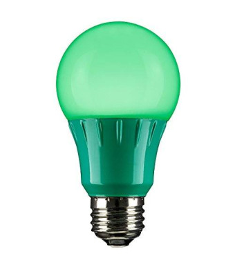 Sunlite 80146 Green LED A19 3 Watt Medium Base 120 Volt UL Listed LED Light Bulb, last 25,000 Hours