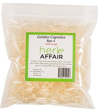 """Herb Affair """"Size 4"""" Clear Empty Gelatin Capsules - 1000 Count"""