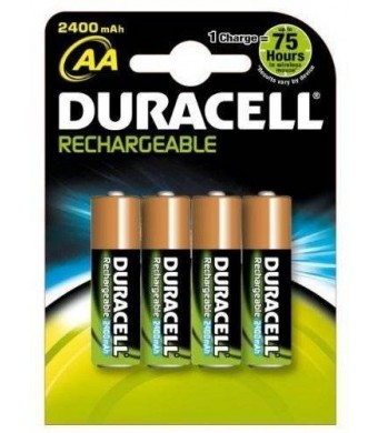 Duracell Rechargeable AA Batteries 2400mAh 4 Count
