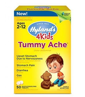 Hyland's Homeopathic Hyland's 4 Kids Tummy Ache Tablets, Natural Relief of Upset Stomach, Diarrhea and Gas for Kids, 50 Count