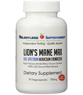 Relentless Improvement Lion's Mane MAX. Organic, Full-Spectrum Hericium. Certified USDA Organic. USA origin