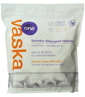 vaska One Laundry Detergent Tablets, Scent Free, 90 Count