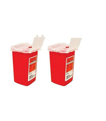 Kendall Sharps Container Biohazard Needle Disposal 1 Qt Size - 2 Pack