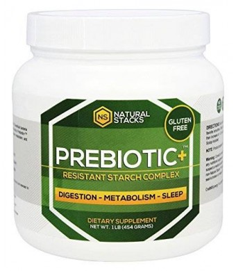 Prebiotic Plus: Resistant Starch Powder. All Natural Complex with Raw Potato Starch, Green Banana Flour and Inulin-FOS. Enhances Digestion, Metabolism and Sleep Quality. #1 Resistant Starch Supplement, Fortified with Trehalose and Ceylon Cinnamon. 454 Gra