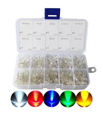 CO-RODE 3mm and 5mm Assorted Clear LED Light Emitting Diodes 5 Colors Pack of 300