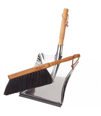 Bürstenhaus Redecker Dust Pan and Brush Set, Stainless Steel Dust Bin, 17 1/2 Inches