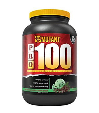 Mutant PRO 100 Whey, Delicious High Quality Gourmet Protein Powder, Mint Chocolate Chip Ice Cream, 2 Pound