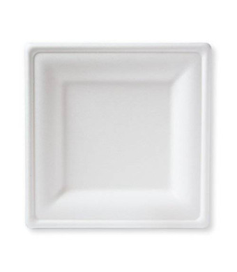 """Susty Party Supplies BP-10S-50CT 50 Count 100% Compostable Sugar Cane Heavy Duty Plate for Dinner, 10"""", White"""
