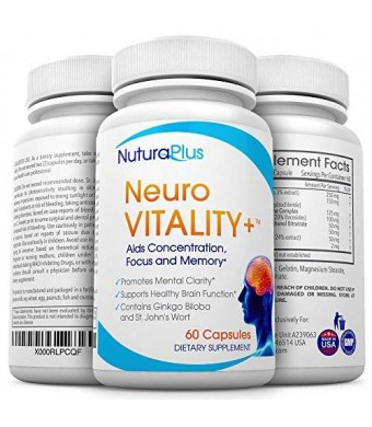 Premium Brain Function Booster - Ultimate Natural Nootropic for Sharper Focus and Memory, Improved Mood and Mental Clarity. Superior Ginko Biloba complex with St John's Wort and Bacopin