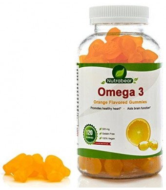 Omega 3 Gummies - a Yummy Fish Oil Replacement, 100% Vegan and Vegetarian, for Kids and Adults, by Nutrabear