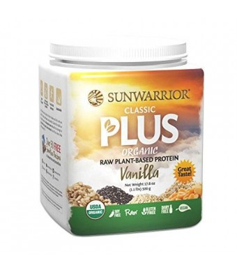 Sunwarrior Classic Plus Raw Organic Protein Powder, Vanilla 1.1 lbs