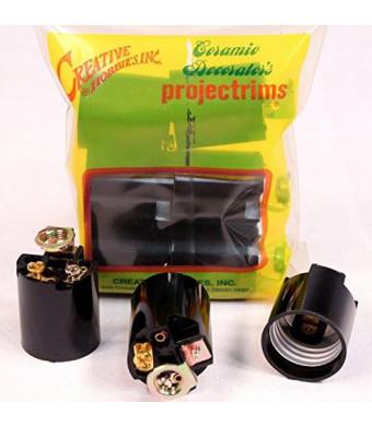 Creative Hobbies ELT5561A Phenolic (Bakelite) Medium Base Fixture Socket, for Incandescent Bulbs, One-Piece Keyless with Hickey, Black, Pack of 6