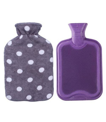 HomeTop Premium Classic Rubber Hot Water Bottle with Soft Fleece Cover (2 Liters, Purple / Gray Polka Dot)